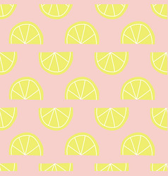 Lemon slices seamless pattern yellow pink vector