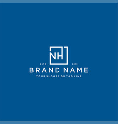 Letter nh with a square design vector