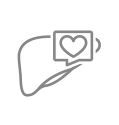 Liver with heart in speech bubble line icon vector