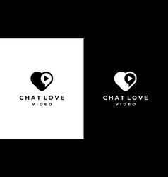 love heart chat talk movie video logo design vector image