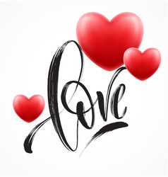 Love word hand drawn lettering with red heart vector