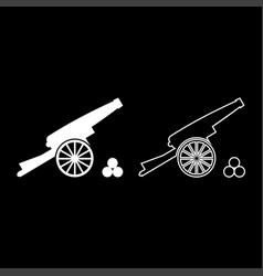 medieval cannon firing cores icon set white color vector image