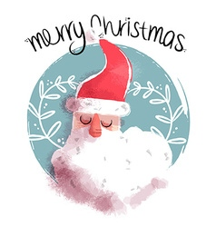 Merry christmas cute santa claus face vector image