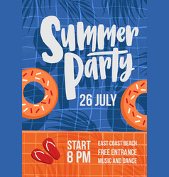 Modern flyer or poster template for summer open vector
