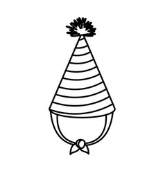 Monochrome silhouette of party hat with thick vector
