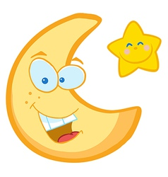 Moon And Star Cartoon Characters vector image