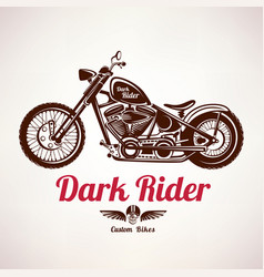 Motorcycle grunge silhouette retro emblem and vector