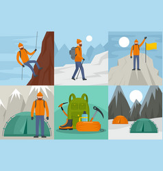 mountaineering ride banner concept set flat style vector image