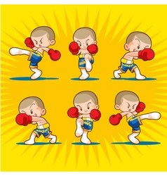 Muaythai boxing kids vector