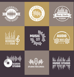 musical logo audio studio badges sound waves vector image