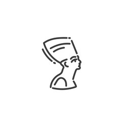 nefertiti flat outline icon egypt concept vector image