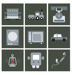 Old game entertainment devices 90s vector