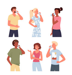 People drink water set young man woman standing vector