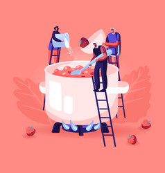 People making homemade strawberry jam or marmalade vector