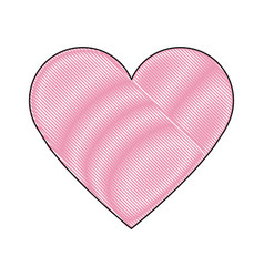 pink heart healthy love feeling symbol icon vector image
