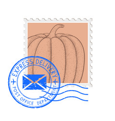 postal stamp with pumpkin and blue round postmark vector image