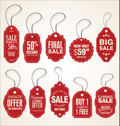 price tags retro vintage red collection vector image