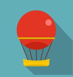 Red aerostat balloon icon flat style vector
