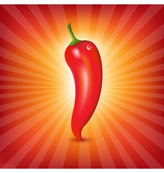 Red Hot Pepper With Sunburst vector