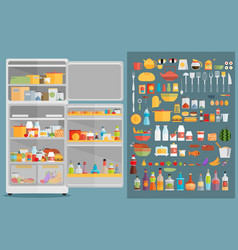 Refrigerator with fooddrinks and kitchenware vector