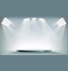 Round podium illuminated searchlights vector