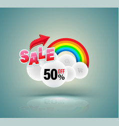 sale banner with cloud and rainbow vector image