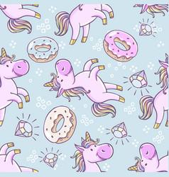 seamless pattern with unicorns donut rainbow vector image