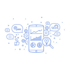 search engine optimization on mobile vector image
