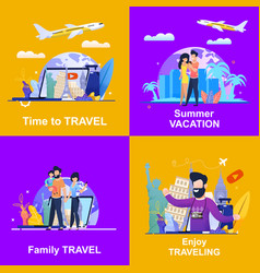 set banner advertising travel company vector image