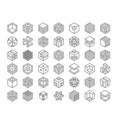 set cubes icon cube logo template vector image