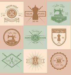 Set of tailor shop colored vintage emblems vector