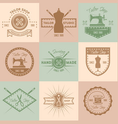 set tailor shop colored vintage emblems vector image