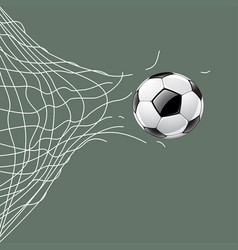Soccer ball through net vector