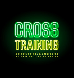 sport emblem cross training neon alphabet vector image