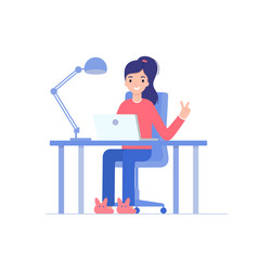 The girl works from home with a laptop vector