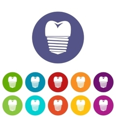 Tooth implant set icons vector image vector image