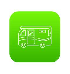 Traveling camper van icon green vector