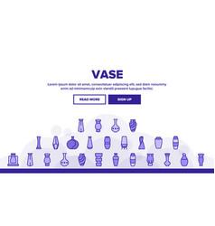 Vase flowers decorative dishware landing header vector