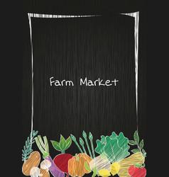 Vegetable on blackboard frame background vector
