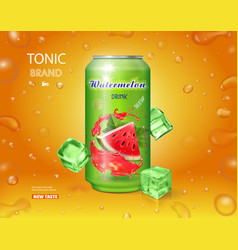 watermelon drink metal can with juice splash vector image