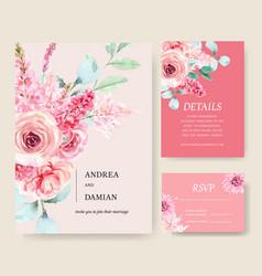 Wedding card design with vintage floral creative vector