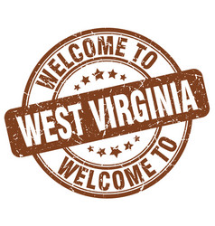 Welcome to west virginia brown round vintage stamp vector