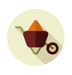 Wheelbarrow carts flat icon vector
