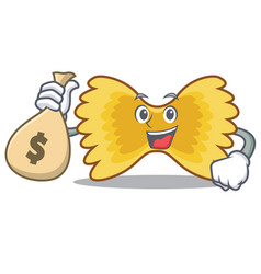 With money bag farfalle pasta character cartoon vector