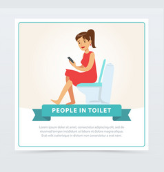 Woman using her phone while sitting on a toilet vector