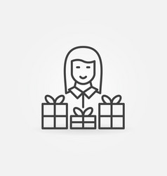 woman with gift icon in thin line style vector image