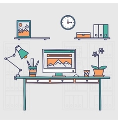 Workspace Hand drawn office interior or home vector
