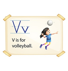A letter V for volleyball vector image