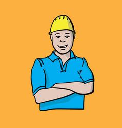 builder orange vector image