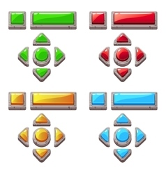 colored stone buttons for game or web design vector image